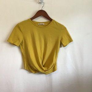 Zara Trafaluc Golden Yellow Front Knot Crop Tee